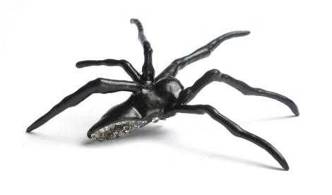 Brooch copepr electroformed spider, cubic zirconias, resin, lacquer, silver
