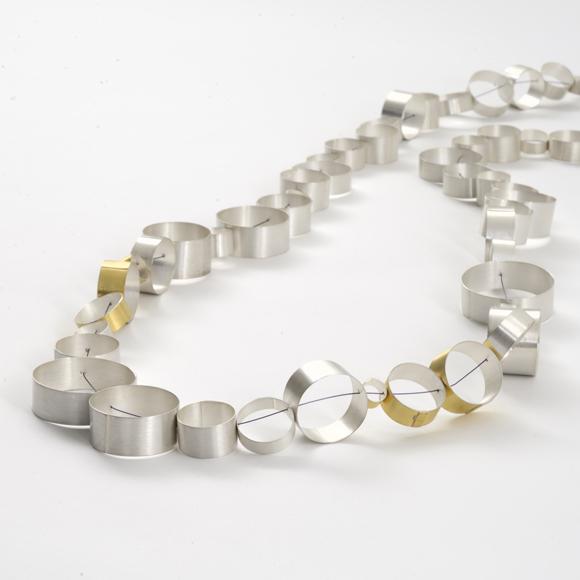 Juliane Scholss Chain silver, bi-colour gold: silver, steel rope 2014
