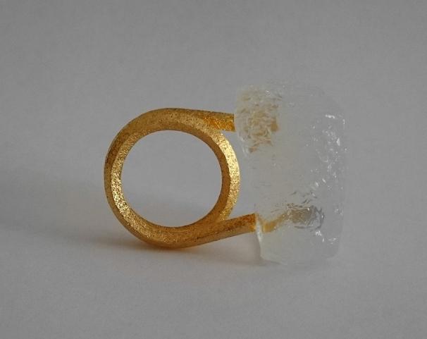 18k yellow gold, bio resin ring 2015