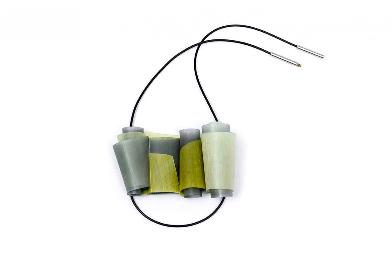 Cities V. Necklace. Recycled PET plastic bottles, PVC cord, plated brass and sterling silver rivets