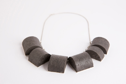 necklace, 2012, recycled paper, silver