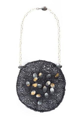Necklace - Basket #10 leather, silver 18k gold, 22k goldleaf