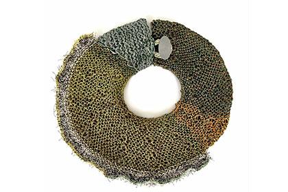 Necklace ; fantastical winter landscape:snow drift, 2018 hand knit leather, sterling silver