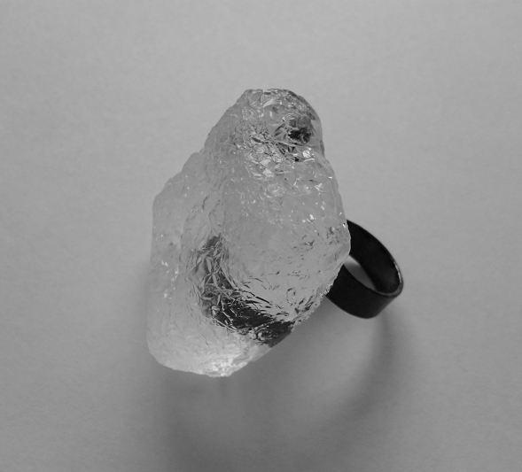 Ring, untitled, 2015 Blackened sterling silver, hand carved translucent bio resin