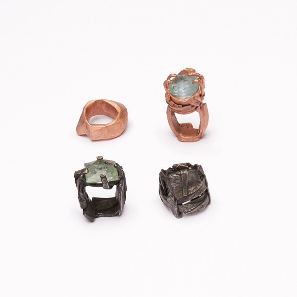 Notes ring 2016, bronze..bronze aquamarine..silver..silver, aquamarine