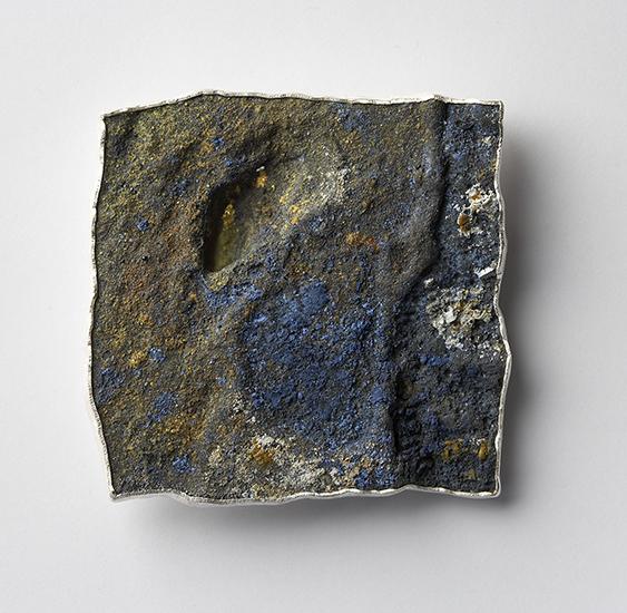 dive #2 brooch, 2005 silver, niello, enamel