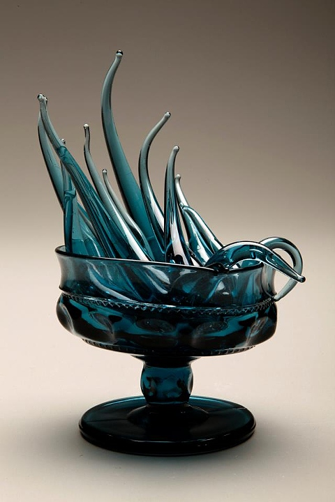 Amber Cowan, Blue Feelings (goblet), flameworked:hot-sculpted American pressed glass