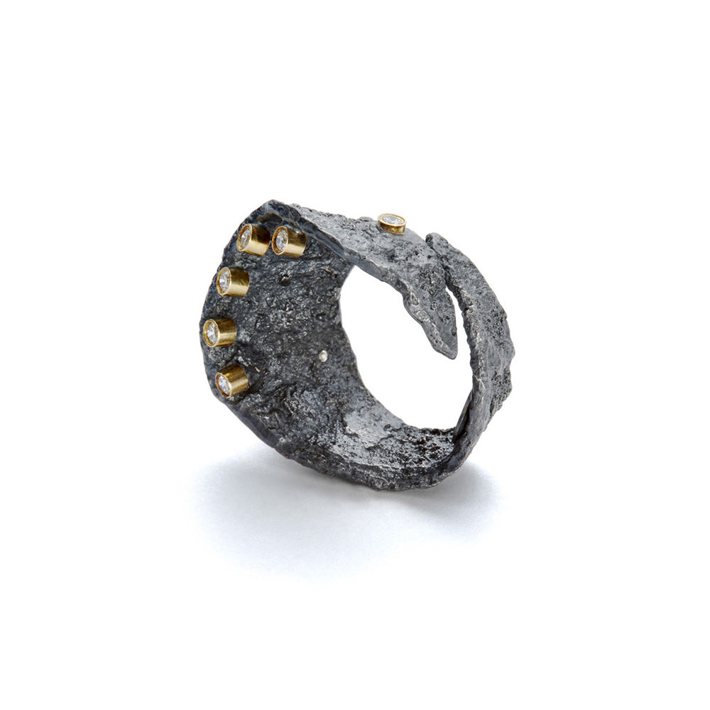 ED96R Floating in the Dark ring. Blackened sterling silver, 18k yellow gold, white diamonds