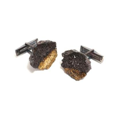 luke-maninov-hammond--graceful inner-islands-cufflinks_oxidized silver fused gold leaf