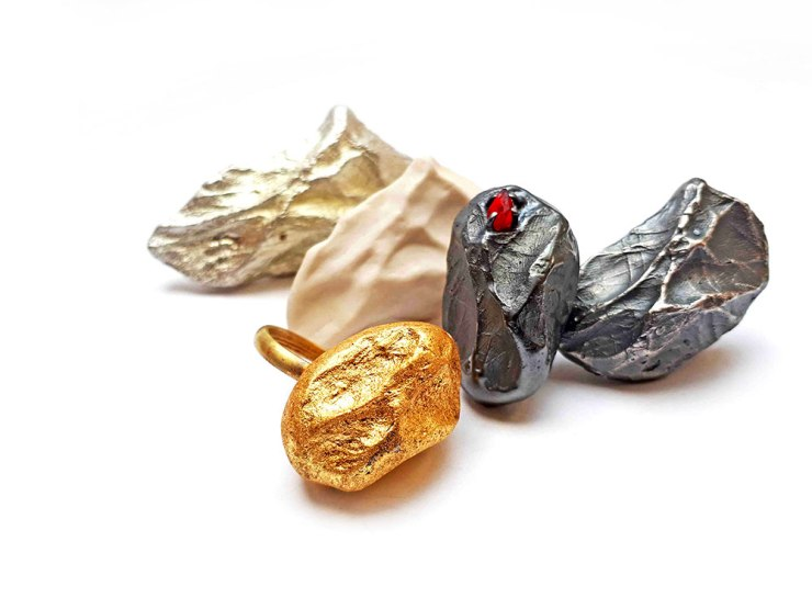 Ring- Maritial Material, 2018 Brass porcelain, silver, glass, gold leaf